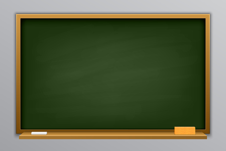 Creative vector illustration of chalkboard isolated on background. Art design blank template mockup blackboard. Concept graphic education and science element. Board, chalk, pencil. Back to school.