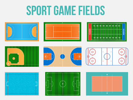 Creative vector illustration of sport game fields marking isolated on background. Graphic element for handball, tennis, american football, soccer, baseball, basketball, hockey, water polo, volleyball Çizim
