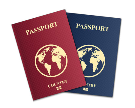 Creative vector illustration of passports with globe map isolated on transparent background. Art design. Front cover international identification document. Abstract concept graphic element