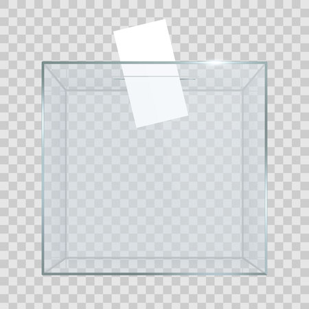 Creative vector illustration of realistic empty transparent ballot box with voting paper in hole isolated on background. Art design glass case is on museum pedestal, stage, 3d podium. Concept graphic