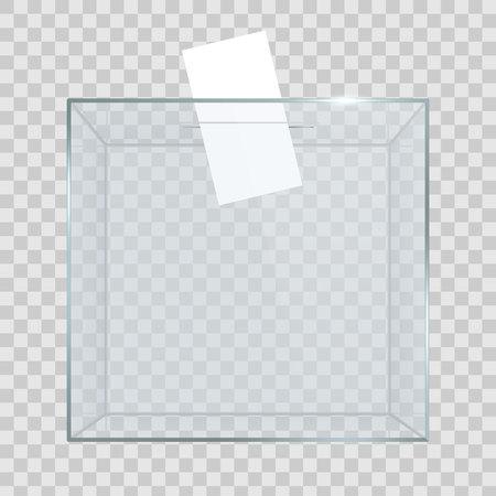 Illustration vectorielle créative d'urne transparente vide réaliste avec papier de vote dans le trou isolé sur fond. La vitrine en verre Art Design est sur le piédestal du musée, la scène, le podium 3D. Graphique du concept