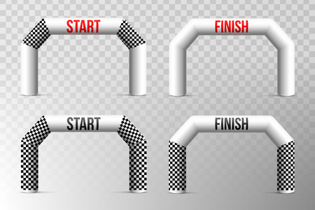 Creative vector illustration of finish line inflatable arch isolated on background. Art design archway suitable for different outdoor sport events. Concept graphic triathlon, marathon, racing, element Illustration