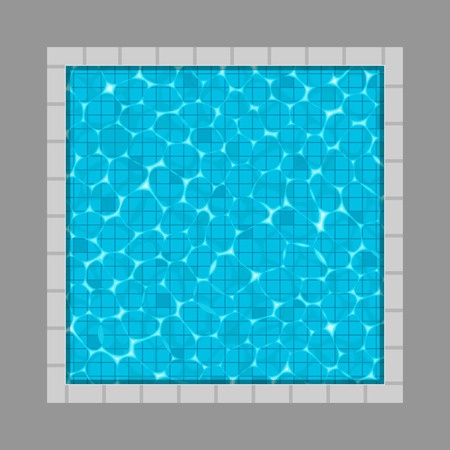 Creative vector illustration of swimming pool top view with reflection background. Art design of shimmering turquoise tropical clear water with ripples. Abstract concept graphic summer element