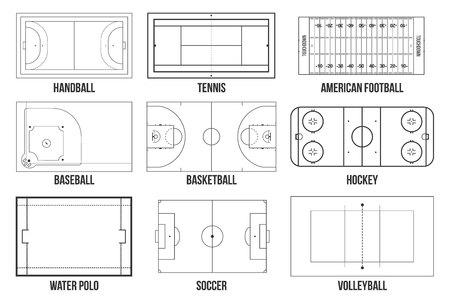 Creatieve vectorillustratie van sportspelvelden markering geïsoleerd op achtergrond. Grafisch element voor handbal, tennis, american football, voetbal, honkbal, basketbal, hockey, waterpolo, volleybal Vector Illustratie