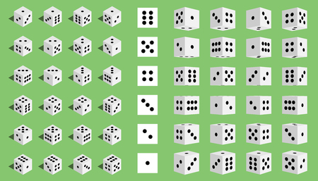 Creative vector illustration of isometric 3d gambling dice combination isolated on transparent background. Art design game. Abstract concept graphic casino 24 turns cube element Иллюстрация