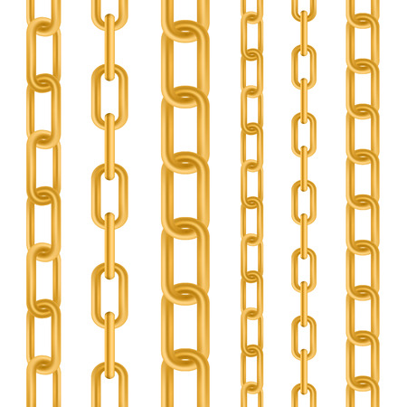 Creative vector illustration of gold metallic dangling chain links set isolated on background. Art design seamless metal. Abstract concept graphic element. Illustration