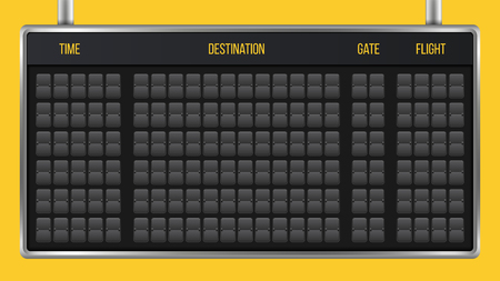 Creative vector illustration of realistic flip scoreboard, arrival airport board with alphabet, numbers isolated on transparent background. Art design. Analog timetable font. Concept graphic element. Banco de Imagens - 102998973