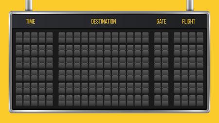 Illustration vectorielle créative du tableau de bord flip réaliste, tableau de l'aéroport d'arrivée avec alphabet, chiffres isolés sur fond transparent. Design d'art. Police horaire analogique. Élément graphique de concept. Vecteurs