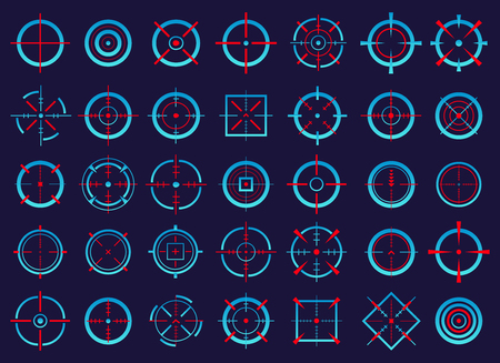 Creative vector illustration of crosshairs icon set isolated on transparent background. Art design. Target aim and aiming to bullseye signs symbol. Abstract concept graphic games shooters element. Standard-Bild - 102998977