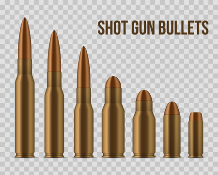 Creative vector illustration of realistic shot gun bullets, holes isolated on transparent background. Art design different gunshot and caliber of weapon. Abstract concept graphic gun ammo element. Vettoriali