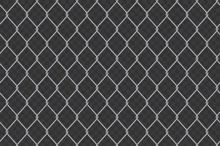 Creative vector illustration of chain link fence wire mesh steel metal isolated on transparent background. Art design gate made. Prison barrier, secured property. Abstract concept graphic element. 矢量图像