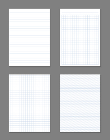 Creative vector illustration of realistic square, lined paper blank sheets set isolated on transparent background. Art design lines, grid page notebook with margin. Abstract concept graphic element.