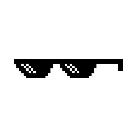 Creative vector illustration of pixel glasses of thug life meme isolated on transparent background. Ghetto lifestyle culture art design. Mock up template. Abstract concept graphic element.