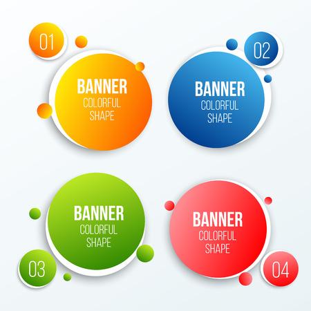 Illustrazione vettoriale creativo di caselle di testo cerchio colorato impostato isolato su sfondo. I colori di sovrapposizione modellano il design artistico delle bandiere. Divertente modulo di etichetta. Spot in stile carta. Elemento grafico di concetto astratto