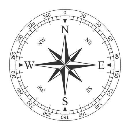 Kreative Vektorillustration des magnetischen Kompasses der Windrose lokalisiert auf transparentem Hintergrund. Kunstdesign für globales Reisen, Tourismus, Erkundung. Konzept grafisches Element für Navigation, Orientierung. Vektorgrafik