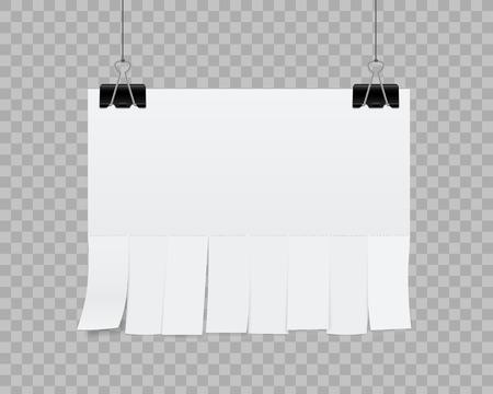 Illustrazione vettoriale creativo di pubblicità di carta foglio bianco vuoto con fogli di taglio a strappo isolati su sfondo trasparente. Street art design copia spazio modello. Elemento grafico di concetto astratto.