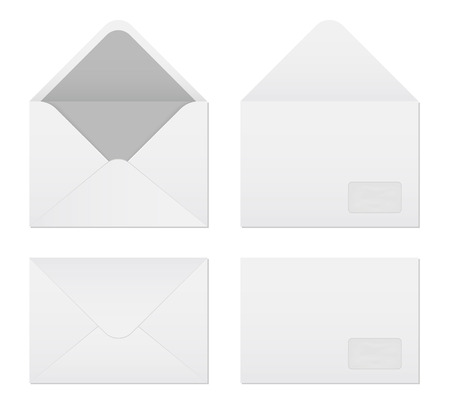 Creative vector illustration of white blank paper envelopes template set isolated on transparent background. International standard sizes. Art design empty example packing letter. Graphic element. Stock Illustratie