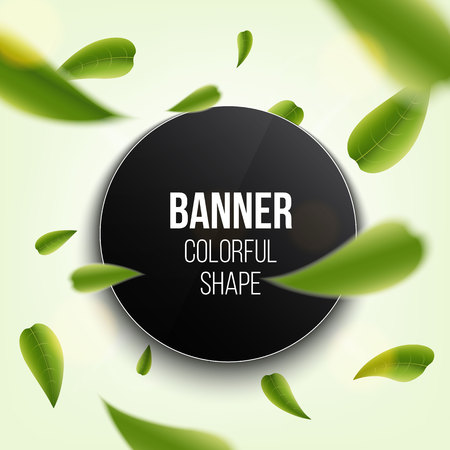 Creative vector illustration of realistic blurred fresh vividly flying green leaves banner cover isolated on transparent background. Art design green tea. Abstract graphic organic natural eco element. Foto de archivo - 103105483