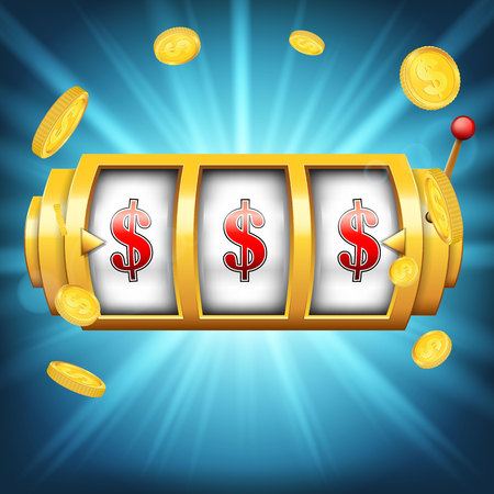 Creative vector illustration of 3d gambling reel, casino slot machine isolated on transparent background. Art design. Concept abstract graphic element - one arm bandit, lucky symbol, big win, 777.
