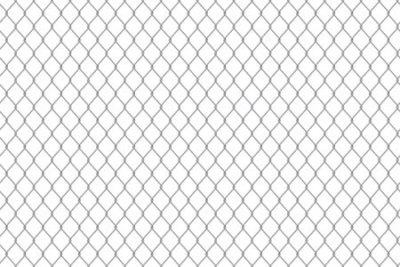 Creative vector illustration of chain link fence wire mesh steel metal isolated on transparent background. Art design gate made. Prison barrier, secured property. Abstract concept graphic element. Stock Illustratie