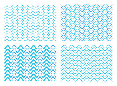 Creative vector illustration of blue sea line ornament set isolated on transparent background. Art design seamless marine wave decoration pattern. Abstract concept curvy, zigzag wavy paper element Illustration