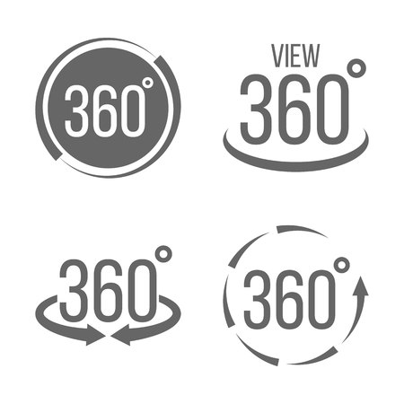 Creative vector illustration of 360 degrees view related sign set isolated on transparent background. Art design. Abstract concept graphic rotation arrows, panorama, virtual reality helmet element