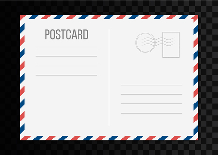 Creative vector illustration of postcard isolated on transparent background. Postal travel card art design. Blank airmail mockup template. Abstract concept graphic element