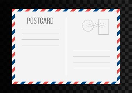 Kreative Vektorillustration der Postkarte lokalisiert auf transparentem Hintergrund. Kunstdesign der Postreisekarte. Leere Luftpost-Modellvorlage. Grafisches Element des abstrakten Konzepts