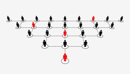 Illustrazione vettoriale creativo astratto di crescente connettere lo schema di rete sociale di persone isolato su sfondo trasparente. Team del dipartimento aziendale dell'azienda. Struttura del concetto di diagramma di design artistico Vettoriali