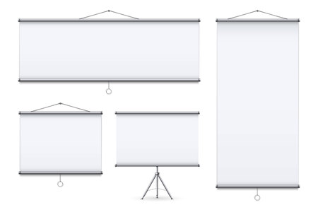 Creative vector illustration of empty meeting projector screen isolated on transparent background. For presentation board, blank whiteboard template mockup for conference. Art design. Graphic element