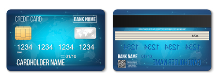 Creative vector illustration of bank plastic credit card set isolated on transparent background. Art design two sides realistic mockup template. Abstract concept graphic detailed glossy element