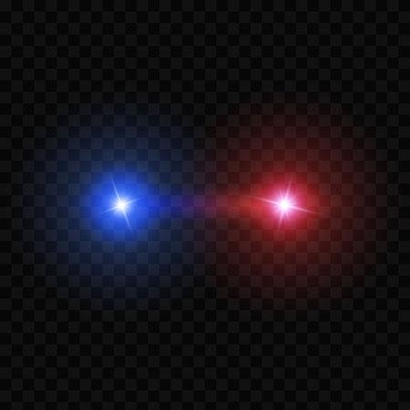 Creatieve vectorillustratie van politie auto silhouet koplampen, knipperen geïsoleerd op transparante achtergrond. Gloeiende koplamp. Rode, blauwe sirene lichten. Kunst ontwerp. Abstract begrip grafisch element