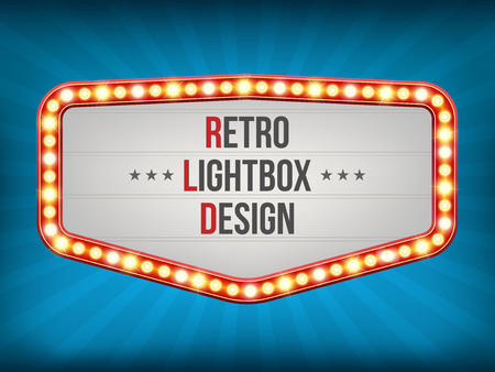 Creative vector illustration of retro light bulb frame set isolated on transparent background. Art design shiny banner decoration curtains. Abstract concept graphic theatre billboard element Illustration
