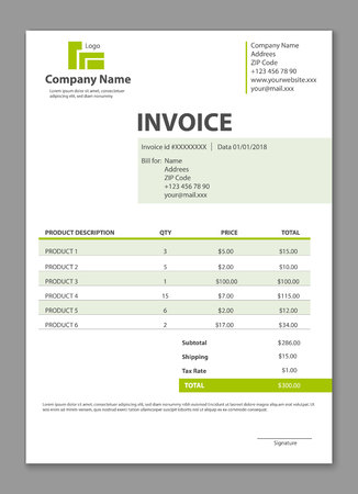 Creative vector illustration of invoice form template for your billing isolated on transparent background. Customizable business company art design. Abstract concept graphic order description element