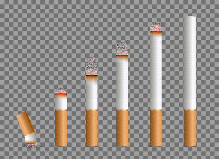 Creative vector illustration of realistic cigarette set isolated on transparent background. Art design different stages of burn. Abstract concept graphic element Vettoriali