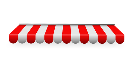 Creative vector illustration of colored striped awnings set for shop, restaurants and market store in different forms isolated on transparent background. Art design. Abstract concept graphic element Foto de archivo - 103338783