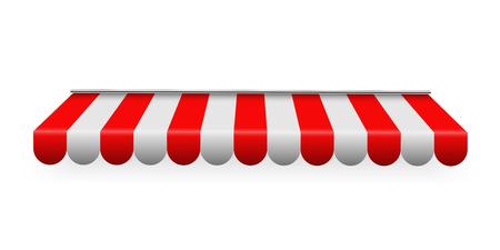 Ilustracja wektorowa Creative kolorowe pasiaste markizy dla sklepu, restauracji i sklepu w różnych formach na przezroczystym tle. Sztuki projektowania. Element graficzny abstrakcyjnej koncepcji Ilustracje wektorowe