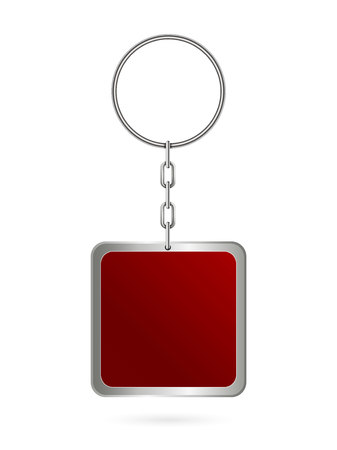 Creative vector illustration of metal keychains for key set isolated on transparent background. Art design template. Abstract concept key chain mock up top view, keyring holder graphic element