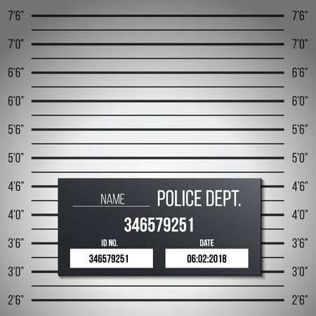Creative vector illustration of police lineup, mugshot template with a table isolated on transparent background. Art design silhouette of anonymous. Abstract concept graphic element