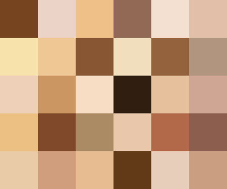 Creative vector illustration of human skin tone color palette set isolated on transparent background. Art design. Abstract concept person face, body complexion graphic element for cosmetics Stok Fotoğraf - 103338836