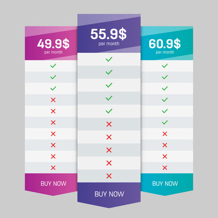 Creative vector illustration of business plans web comparison pricing table isolated on transparent background. Art design modern banner list. Abstract concept graphic websites, applications element Vectores