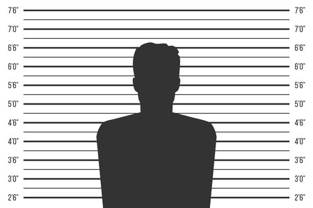 Creative vector illustration of police lineup, mugshot template with a table isolated on transparent background. Art design silhouette of anonymous. Abstract concept graphic element Vektorové ilustrace