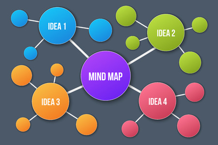 Creative vector illustration of mind map infographic template isolated on transparent background with place for your content. Art design. Abstract concept graphic element