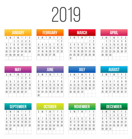 Creative vector illustration of 2019 year colorful calendar isolated on transparent background. Art design blank mockup template event planner. Week starts sunday. Abstract concept graphic element Ilustração
