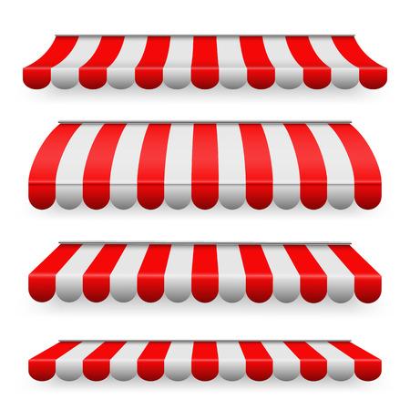 Kreative Vektorillustration von farbigen gestreiften Markisen, die für Geschäft, Restaurants und Marktspeicher in verschiedenen Formen lokalisiert werden, die auf transparentem Hintergrund lokalisiert werden. Kunstdesign. Grafisches Element des abstrakten Konzepts Vektorgrafik