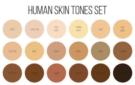 Creative vector illustration of human skin tone color palette set isolated on transparent background. Art design. Abstract concept person face, body complexion graphic element for cosmetics Stock fotó - 103400800