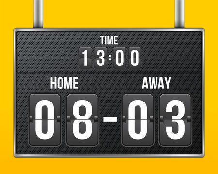 Creative vector illustration of soccer, football mechanical scoreboard isolated on transparent background. Art design retro vintage countdown with time, result display. Concept graphic sport element. Ilustrace