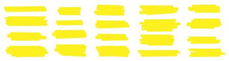 Kreative Vektorillustration von Fleckstrichen, handgezeichnete gelbe Hervorhebungs-Japan-Markierungslinien, Bürstenstreifen lokalisiert auf transparentem Hintergrund. Kunstdesign. Grafisches stilvolles Element des abstrakten Konzepts.