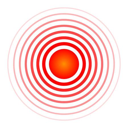 Creatieve vectorillustratie van pil doelspot symbool, medische pijnstiller drug pictogram geïsoleerd op transparante achtergrond. Art design rode pijn cirkel. Abstracte pijn pijnstillende remedie geneeskunde element.