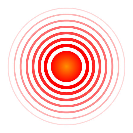 Kreative Vektorillustration des Pille-Zielpunktsymbols, medizinisches Schmerzmitteldrogensymbol lokalisiert auf transparentem Hintergrund. Kunstdesign roter Schmerzkreis. Abstraktes schmerzstillendes Heilmittel Medizinelement.